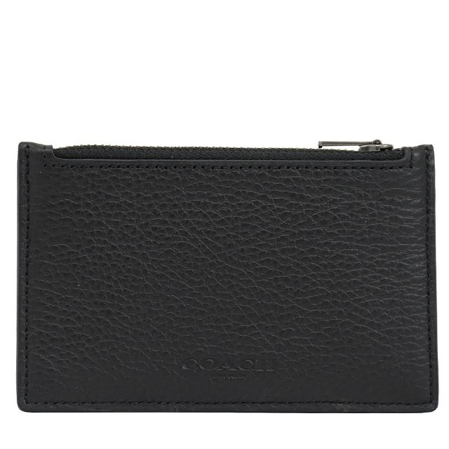 【COACH】經典烙印LOGO皮革信用卡名片夾零錢包(黑)