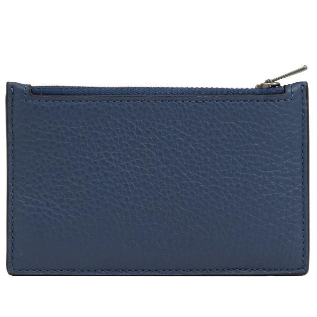 【COACH】經典烙印LOGO皮革信用卡名片夾零錢包(藍)