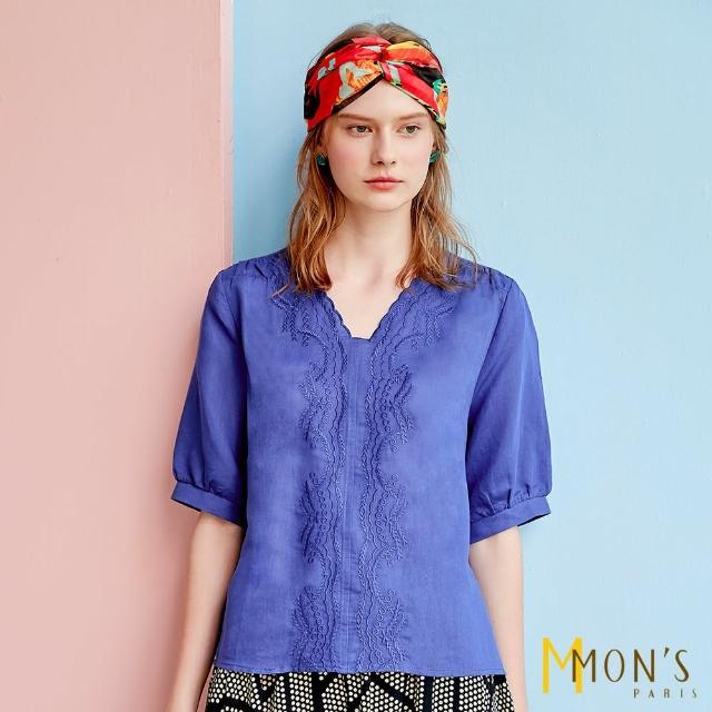 【MON'S】刺繡V領斜紋棉麻上衣