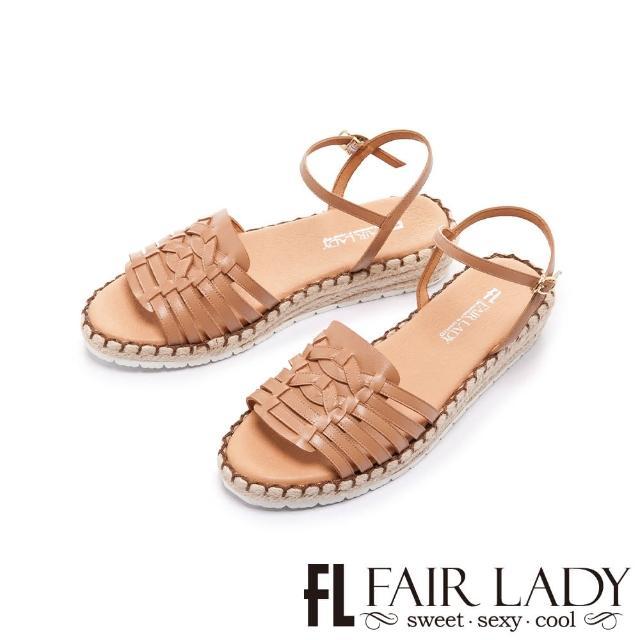 【FAIR LADY】盛夏 手工編織楔型麻編底涼鞋(蜜糖棕、202406)