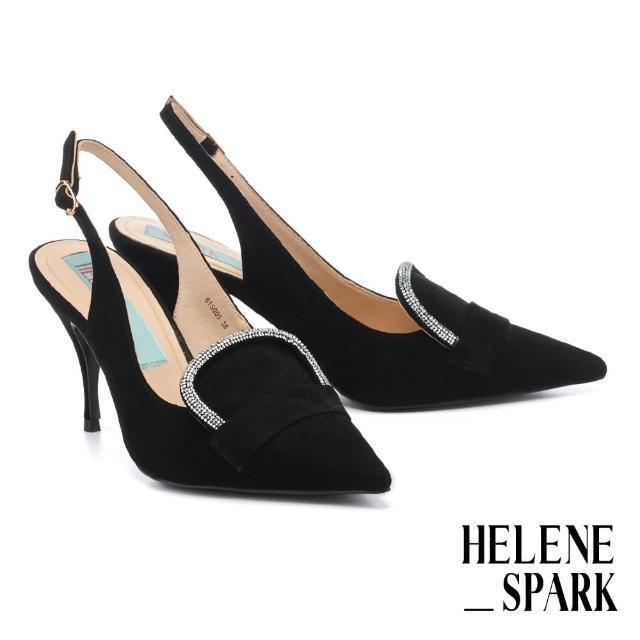 【HELENE SPARK】奢華復古閃鑽後繫帶全真皮尖頭美型高跟鞋(黑)