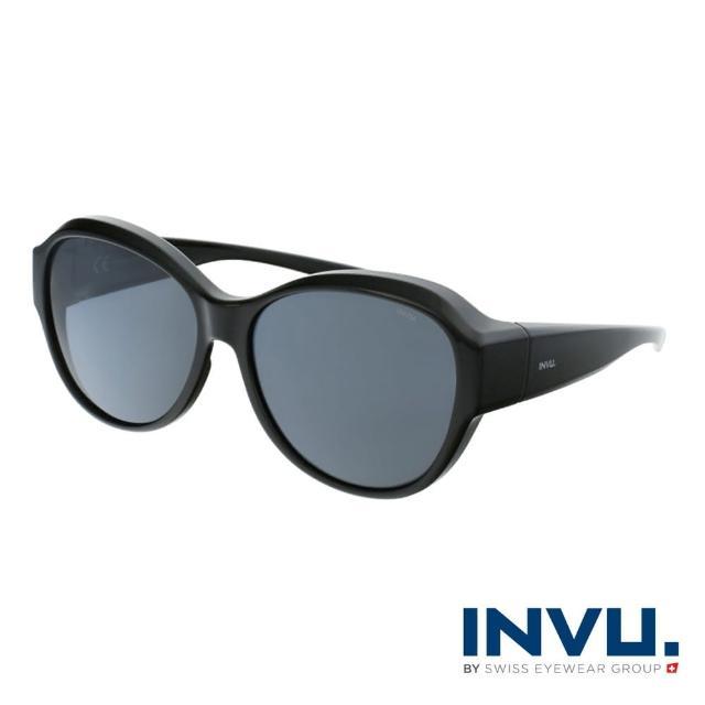 【INVU】瑞士經典小臉圓框套鏡式偏光太陽眼鏡(黑 E2100A)