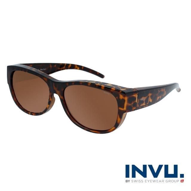 【INVU】瑞士完美曲線套鏡式偏光太陽眼鏡(豹紋 E2002B)