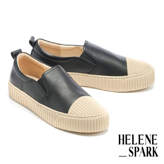 【HELENE SPARK】簡約率性全真皮線感厚底休閒鞋(黑)