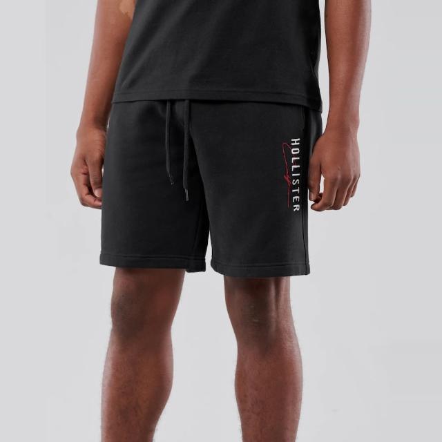 【HOLLISTER Co】Hollister 經典刺繡文字棉短褲-黑色