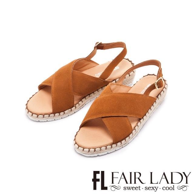 【FAIR LADY】盛夏 麂皮交叉帶楔型麻編底涼鞋(棕、202405)