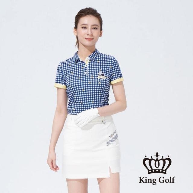 【KING GOLF】女款格紋印圖火鶴刺繡撞色短袖POLO衫(藍色)