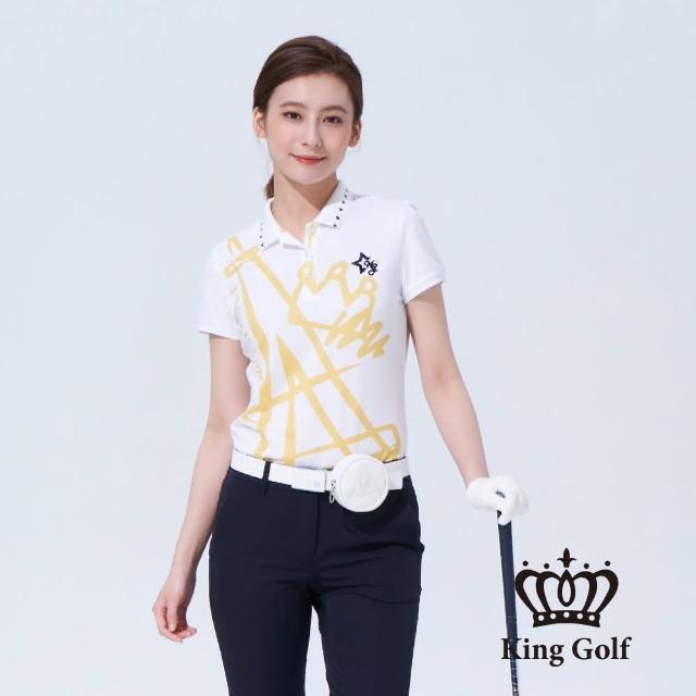 【KING GOLF】女款巴黎鐵塔塗鴉印圖刺繡短袖POLO衫(白色)