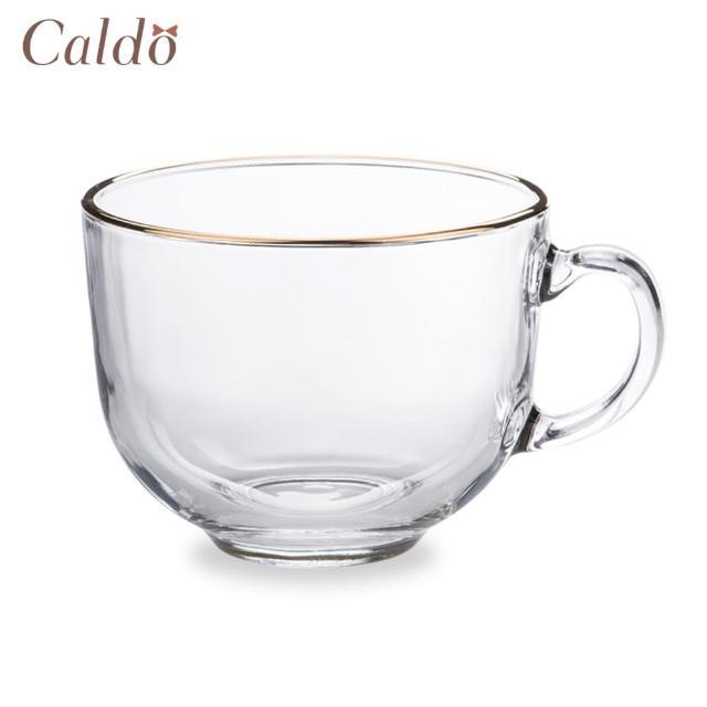 【Caldo 卡朵生活】寬口金邊玻璃早餐杯(400ML)