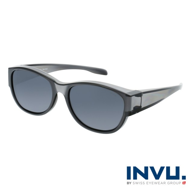 【INVU】瑞士時尚微橢圓框套鏡式偏光太陽眼鏡(透灰 E2103A)