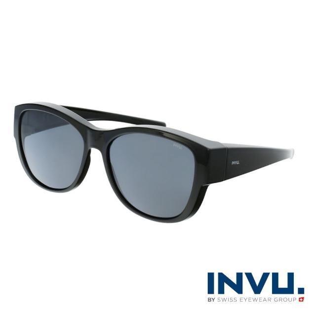【INVU】瑞士摩登時尚套鏡式偏光太陽眼鏡(黑 E2102A)