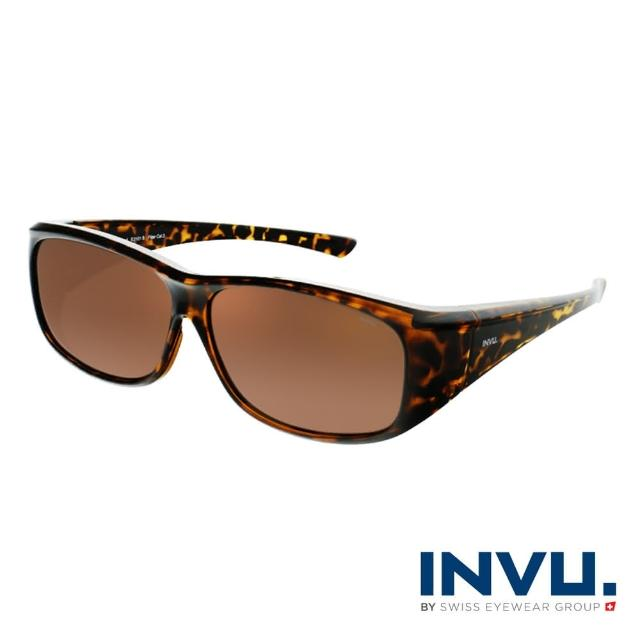 【INVU】瑞士方框套鏡偏光太陽眼鏡(豹紋 E2101B)