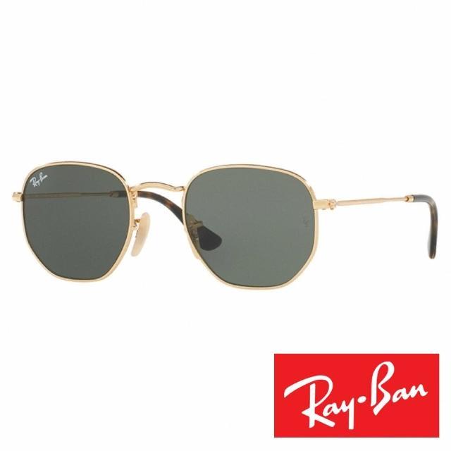【RayBan 雷朋】復古多邊型太陽眼鏡(黑金#3548-001/54)