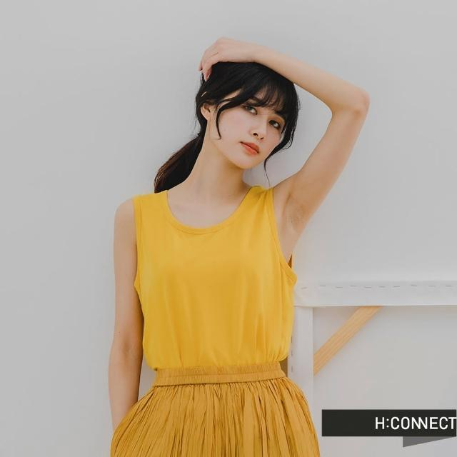 【H:CONNECT】韓國品牌 女裝 -純色透氣寬版坦克背心(黃色)