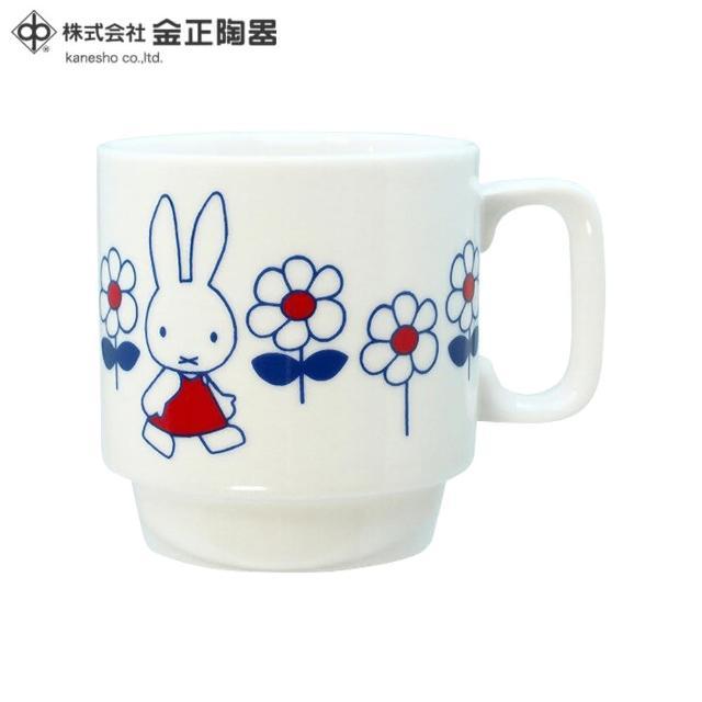 【Miffy 米飛】日本金正陶器 米菲兔hanahana陶瓷馬克杯(日本製 日本原裝進口瓷器)