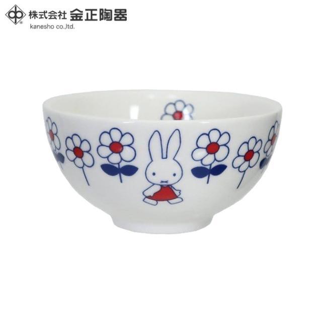 【Miffy 米飛】日本金正陶器 米菲兔hanahana陶瓷茶碗(日本製 日本原裝進口瓷器)