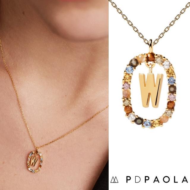 【PD PAOLA】西班牙時尚潮牌 金色W字母項鍊 彩寶橢圓形項鍊 925純銀鑲18K金(925純銀鑲18K金)