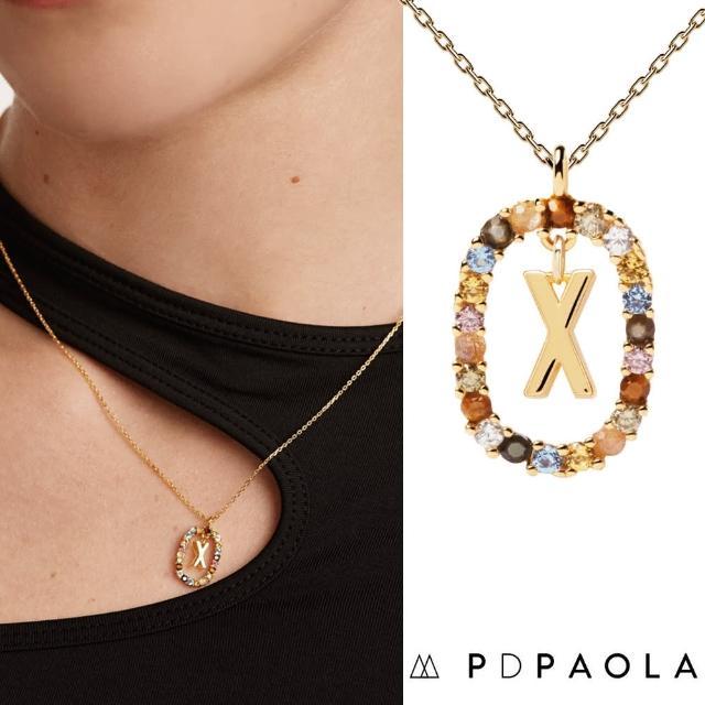 【PD PAOLA】西班牙時尚潮牌 金色X字母項鍊 彩寶橢圓形項鍊 925純銀鑲18K金(925純銀鑲18K金)