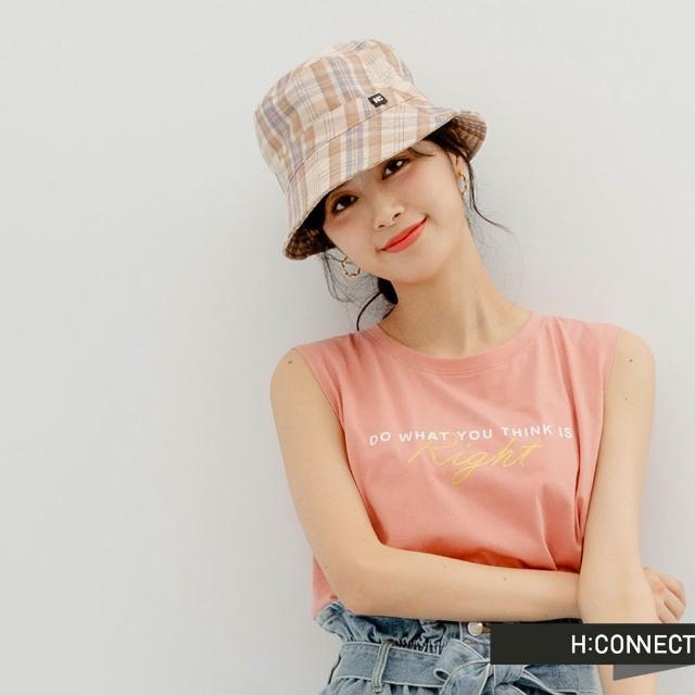 【H:CONNECT】韓國品牌 女裝 -英文個性標語圖印背心(珊瑚粉)