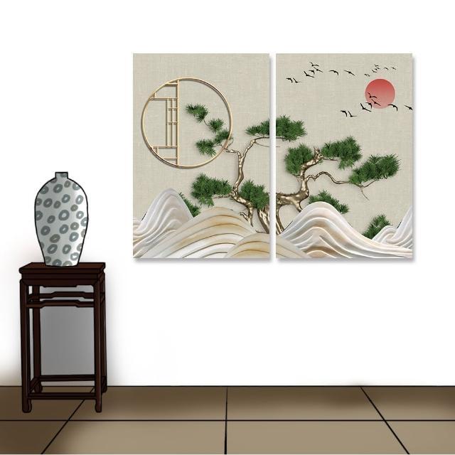 【24mama 掛畫】二聯式 油畫布 日落 彎曲的松樹 樹 植物 鳥 動物 水 夕陽 無框畫-40x60cm(抽象波浪山)