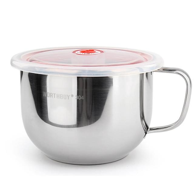 【PUSH!】防燙防摔升級加厚304不鏽鋼碗泡麵碗飯碗湯碗帶日期指針蓋(E87)