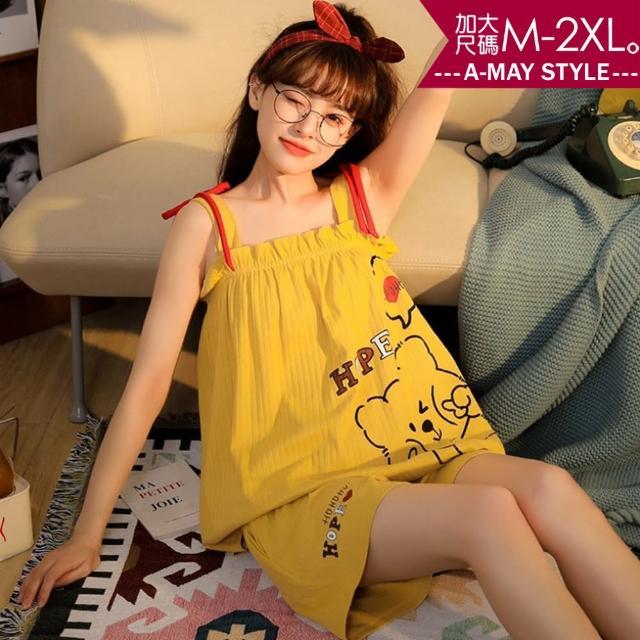 【Amay Style 艾美時尚】兩件式居家服-少女感吊帶睡衣短褲套裝。加大碼M-2XL(8色.預購)