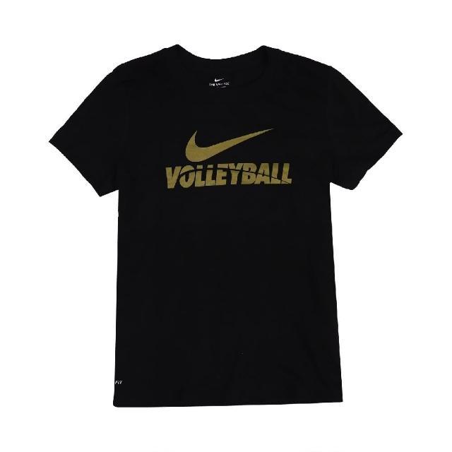 【NIKE 耐吉】T恤 Volleyball Tee 運動休閒 女款 DRI-FIT 吸濕排汗 快乾 圓領 黑 金(561423010V-B70)