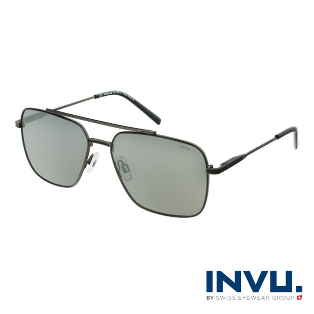 【INVU】瑞士時尚解構飛行員框偏光太陽眼鏡(鐵灰/黑 B1104D)