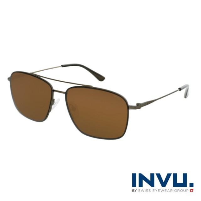【INVU】瑞士極細簡約飛行員偏光太陽眼鏡(鐵灰 P1103B)