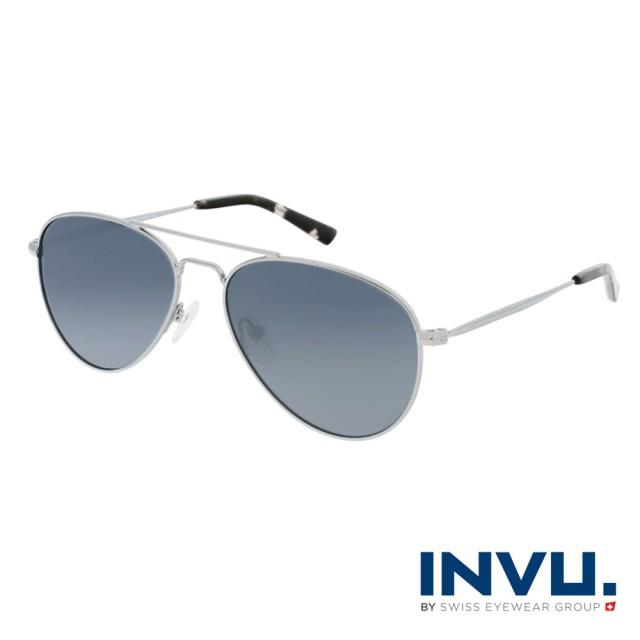 【INVU】瑞士 飛行員框 偏光太陽眼鏡(銀 V1102B)