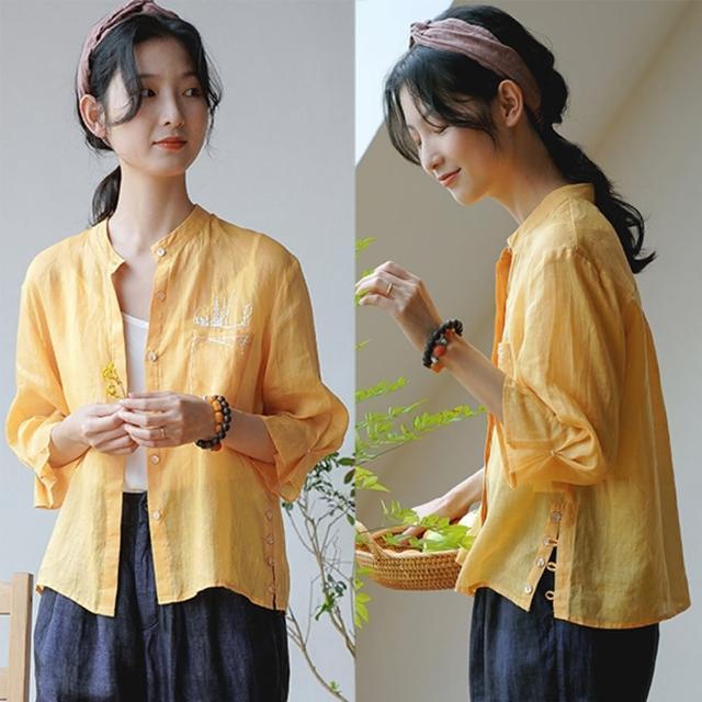 【設計所在】100支天然苧麻工藝刺繡黃色防曬襯衫薄版 S20539(S-M可選)
