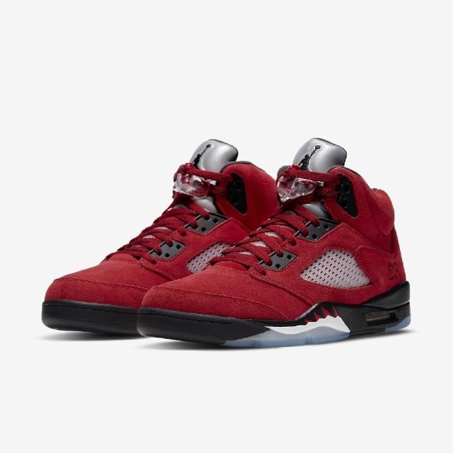 【NIKE 耐吉】籃球鞋 Air Jordan 5代 男鞋 Raging Bull 公牛 喬丹 麂皮 紅 黑(DD0587-600)