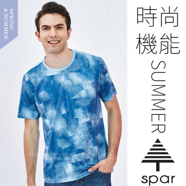 【SPAR】男款 吸濕排汗彈性短袖圓領T恤.休閒衫.排汗上衣(SA1108104 天藍)