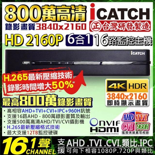 【KINGNET】可取 16路 監控主機 8MP 800萬 手機遠端(DVR 向下相容 1080P)