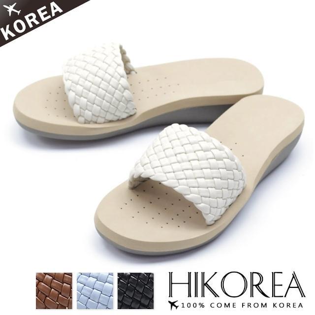 【HIKOREA】韓國空運/版型正常。簡約手感立體編織多色楔型厚底涼拖鞋(71-3290四色/現貨+預購)