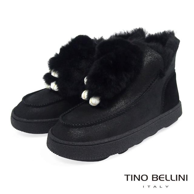 【TINO BELLINI 貝里尼】俏皮毛毛玩偶厚底雪靴VI8574(黑)