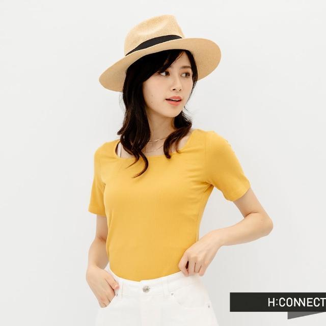 【H:CONNECT】韓國品牌 女裝 -素色大圓領羅紋短版上衣(黃色)