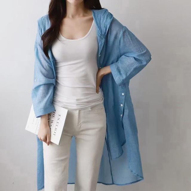 【M select】韓 超好看 輕薄防曬 五分袖連帽開扣開衫兩側排扣 休閒襯衫外套 薄外套 薄襯衫罩衫 藍/白/灰