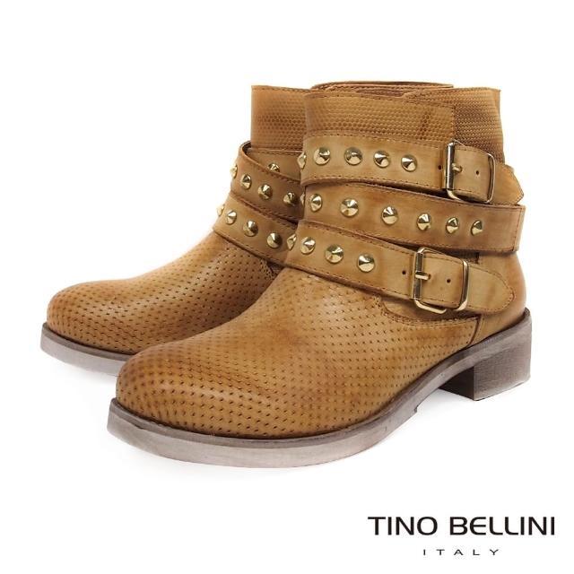【TINO BELLINI 貝里尼】義大利進口沖孔壓紋鉚釘釦帶工程靴B79211(駝)