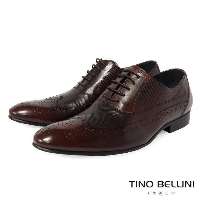 【TINO BELLINI 貝里尼】男款 翼紋雕花斜紋繫帶紳士鞋H2T0013-9