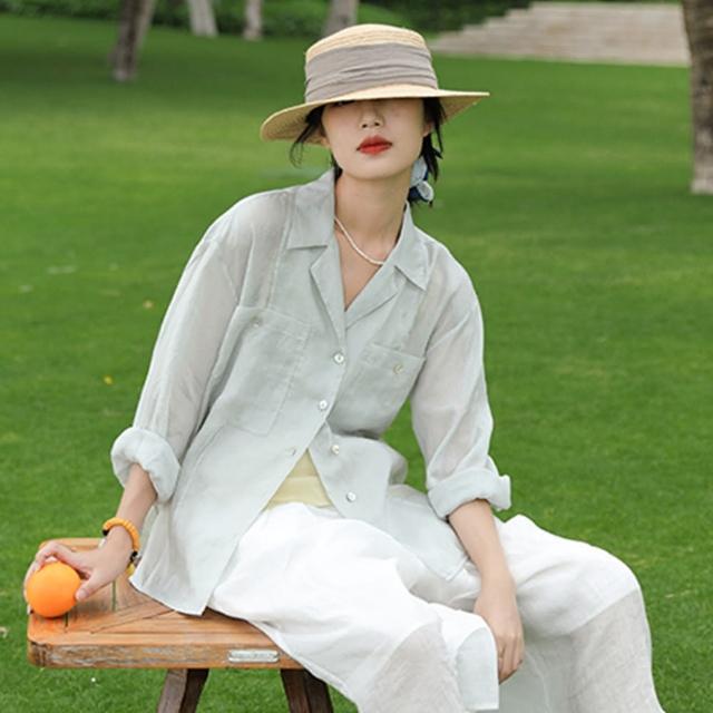【設計所在】高端苧麻涼爽呼吸感防曬襯衫薄版亞麻法式上衣 S210419(S-L可選)