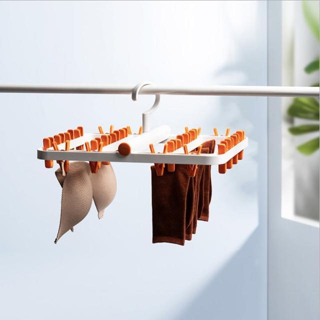 【PUSH!】居家生活用品防纏繞可折疊晾曬襪子內衣褲毛巾架晾衣架(I88)