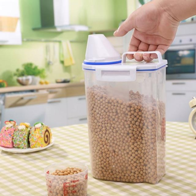 【PUSH!】廚房居家用品儲米桶箱密封防蟲防潮加厚塑膠米桶雜糧儲存桶附量杯2KG(一入I70)