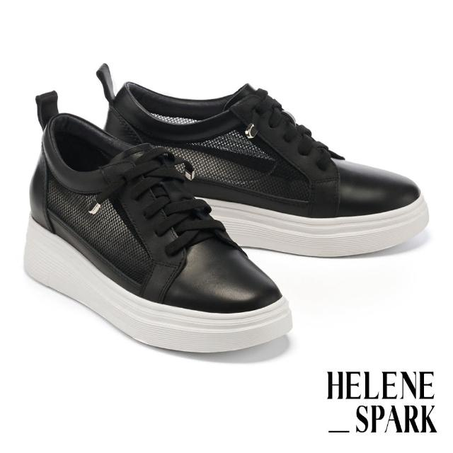 【HELENE SPARK】率性日常異材質彈力鞋帶厚底休閒鞋(黑)