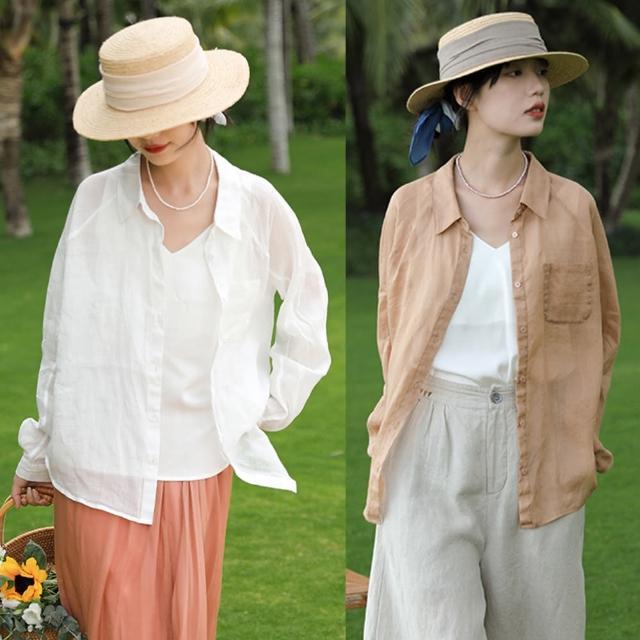 【設計所在】清涼體感高端苧麻防曬襯衫薄版亞麻法式上衣 S210141(2色 S-L可選)