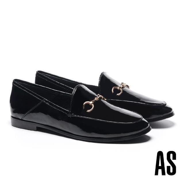【AS 集團】復刻經典時尚馬銜釦漆皮樂福低跟鞋(黑)
