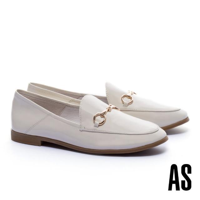 【AS 集團】復刻經典時尚馬銜釦漆皮樂福低跟鞋(白)