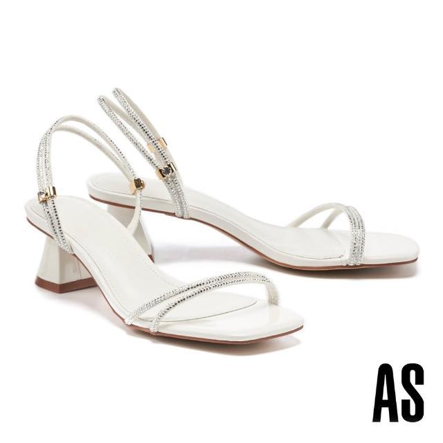 【AS 集團】高雅別緻閃耀晶鑽兩穿式繫帶方頭高跟涼鞋(白)