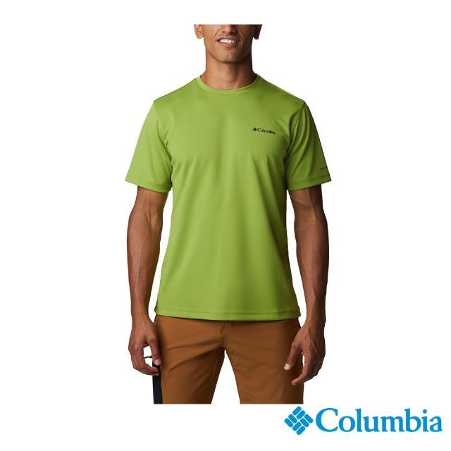 【Columbia 哥倫比亞】男款-UPF30冰紗快排短袖上衣-抹茶綠(UEE03050MI / 抗UV.快排.酷涼)