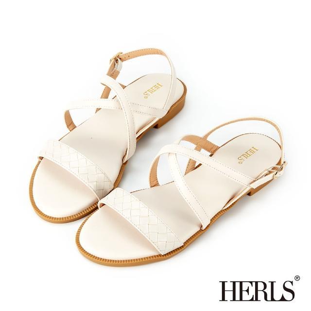 【HERLS】涼鞋-編織壓紋交叉平底涼鞋(米白色)